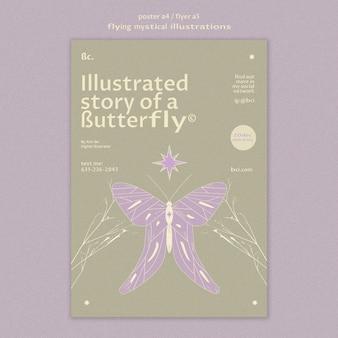 Latający szablon plakatu historii mistycznego motyla