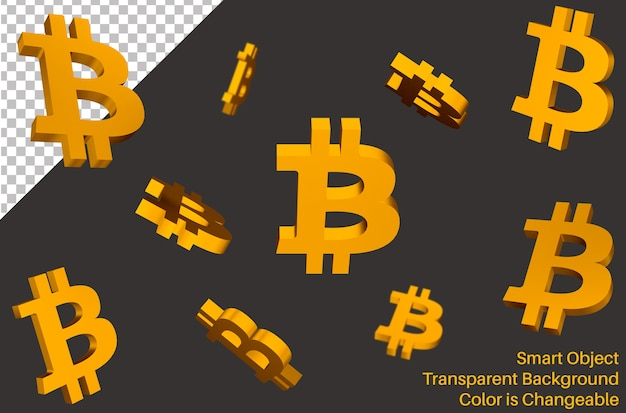 Latający znak waluty bitcoin w stylu 3d