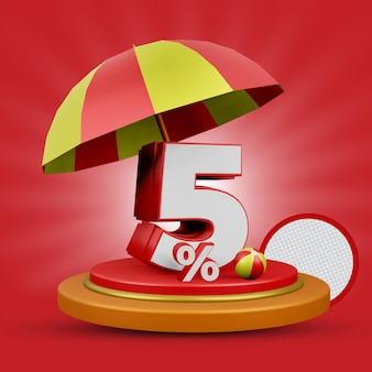 Lato 5 procent rabatu oferta renderowania 3d na białym tle premium psd