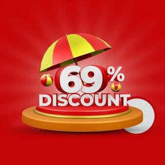 Lato 69 procent zniżki oferta renderowania 3d na białym tle