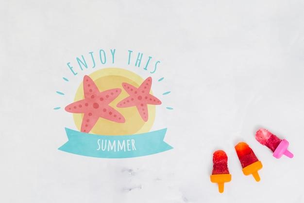 Lato literowanie tła z lody na patyku