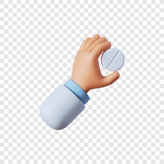 Lekarz ręka trzyma białą tabletkę