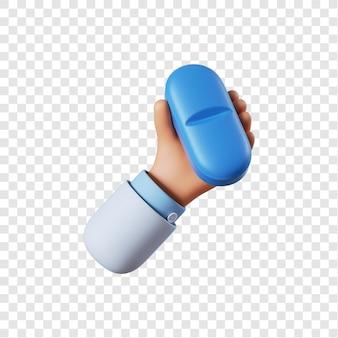 Lekarz ręka trzyma niebieską pigułkę