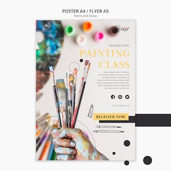 Lekcje malowania dla dzieci i dorosłych szablon ulotki