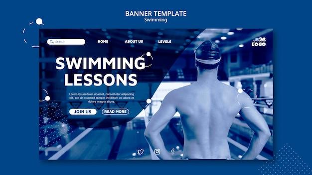 Lekcje pływania poziomy szablon transparent ze zdjęciem