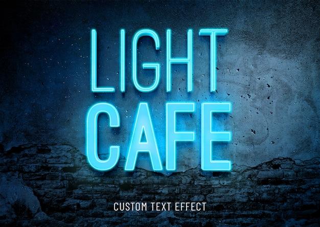 Lekka neonowa kawiarnia świecąca efekt tekstowy 3d