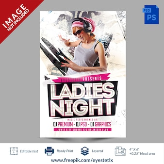 Lekkie streszczenie ladies night party flyer szablon photoshop