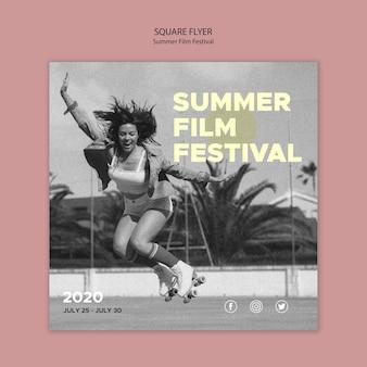 Letni festiwal filmowy szablon ulotki kwadratowe