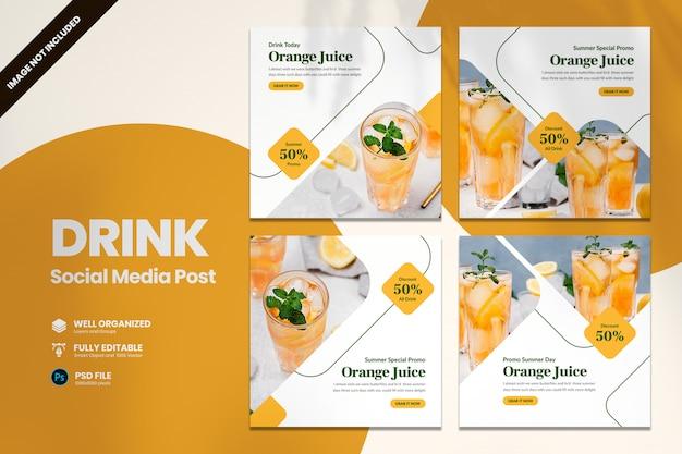 Letni napój promocyjny szablon transparent mediów społecznościowych