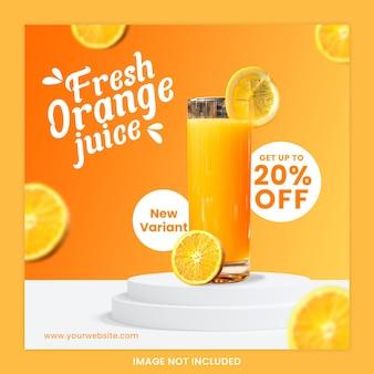 Letni napój social media post banner sok pomarańczowy premium psd
