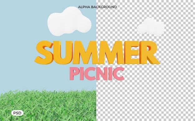 Letni piknik renderowania tekstu 3d