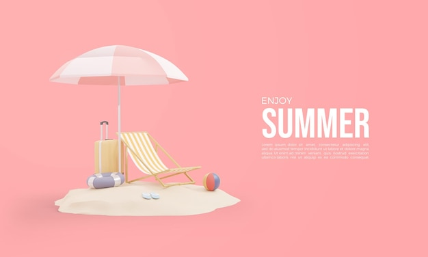 Letni rendering 3d z bagażem i parasolem na piasku