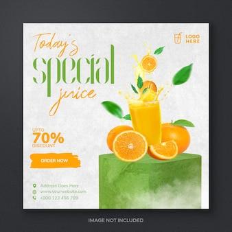 Letni świeży napój sok owocowy w mediach społecznościowych post szablon projektu banera