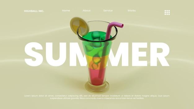 Letni szablon strony docelowej z koktajlem w szkle highball ilustracja renderowania 3d