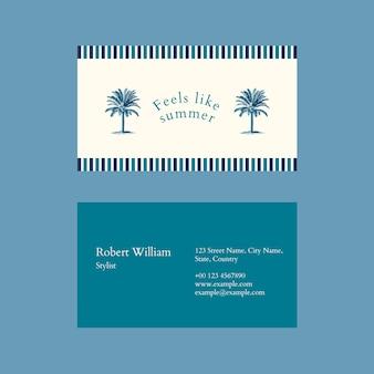 Letni szablon wizytówki psd z tropikalnym tłem