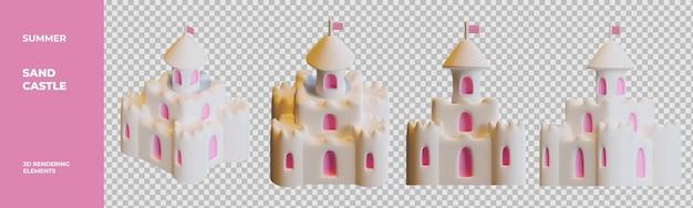 Letni zamek z piasku elementy renderowania 3d