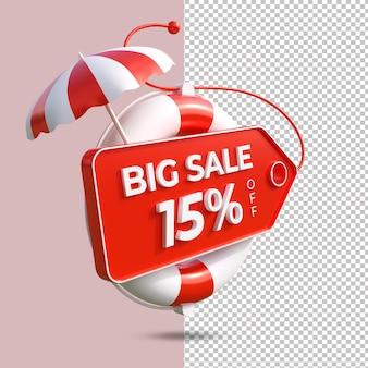 Letnia duża wyprzedaż 15 procent oferty renderowania 3d