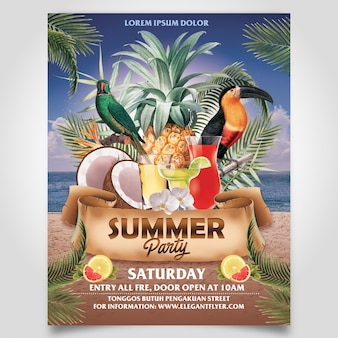 Letnia impreza plażowa z drzewem kokosowym i szablonem suszarki ulotki do edycji warstwy