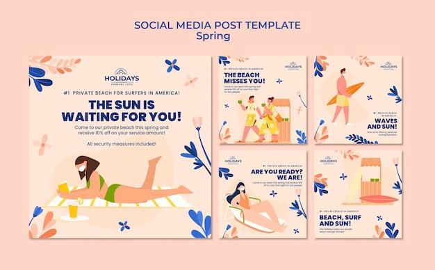 Letnia kolekcja postów na instagramie na plaży