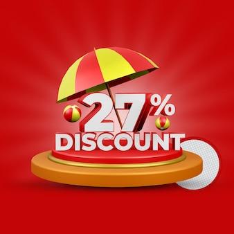 Letnia oferta 27 procent zniżki na renderowanie 3d na białym tle