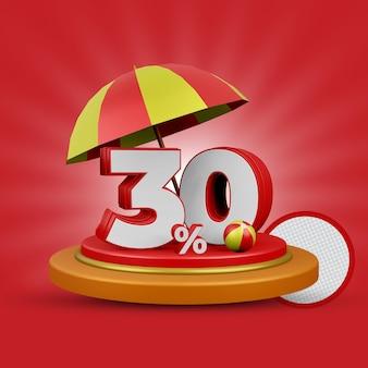 Letnia oferta 30 procent zniżki na renderowanie 3d na białym tle
