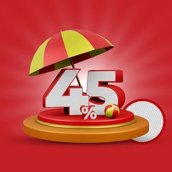 Letnia oferta 45 procent zniżki na renderowanie 3d na białym tle