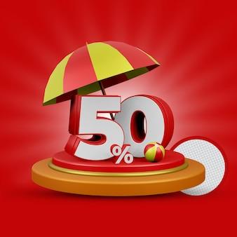 Letnia oferta 50 procent zniżki na renderowanie 3d na białym tle