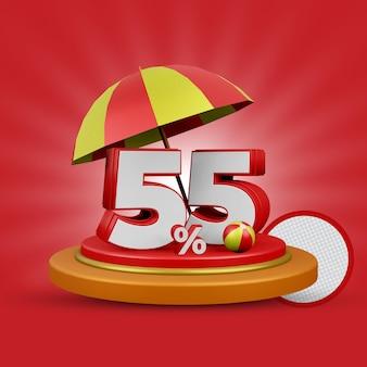 Letnia oferta 55 procent zniżki na renderowanie 3d na białym tle