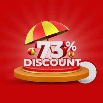 Letnia oferta 73 procent zniżki na renderowanie 3d na białym tle