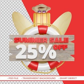 Letnia oferta rabatowa 25 w renderowaniu 3d na białym tle