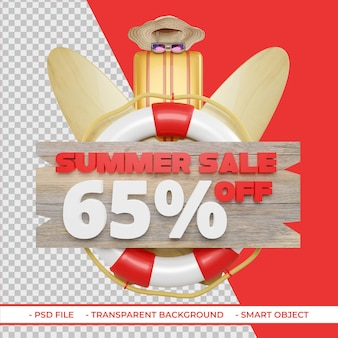 Letnia oferta rabatowa 65 w renderowaniu 3d na białym tle