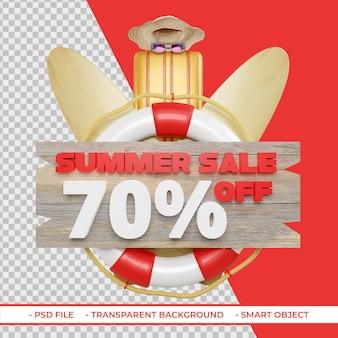 Letnia oferta rabatowa 70 w renderowaniu 3d na białym tle
