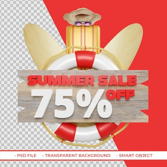 Letnia oferta rabatowa 75 w renderowaniu 3d na białym tle