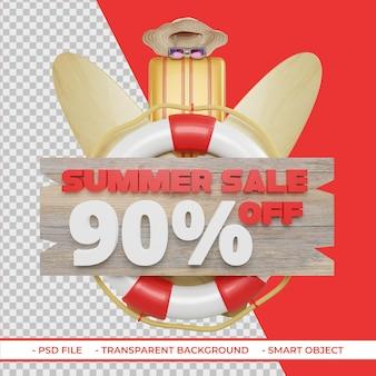 Letnia oferta rabatowa 90 w renderowaniu 3d na białym tle
