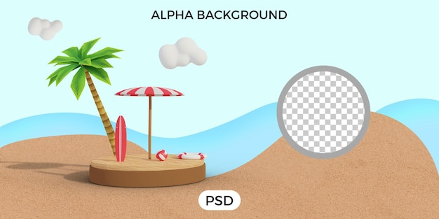 Letnia plaża renderowanie 3d