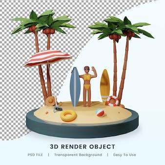 Letnia plaża z postacią 3d render premium psd