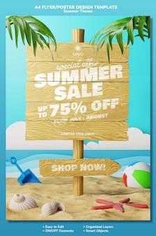 Letnia promocja promocyjna ulotka plakat projekt szablonu koncepcji z elementami 3d na plaży