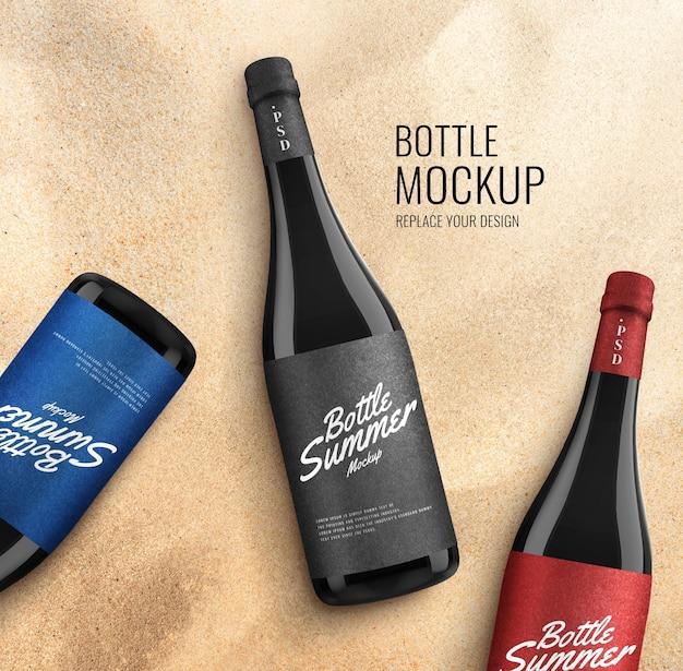 Letnia reklama makiety szklanej butelki
