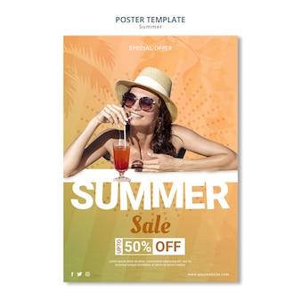 Letnia wyprzedaż plakat styl szablonu