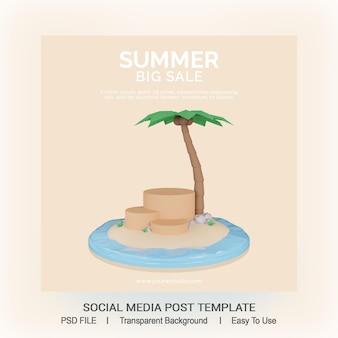Letnia wyprzedaż szablon postu w mediach społecznościowych