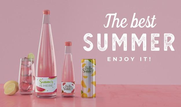 Letnie napoje na stole z typografią