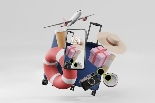 Letnie rzeczy z makietą telefonu komórkowego w renderowaniu ilustracji 3d