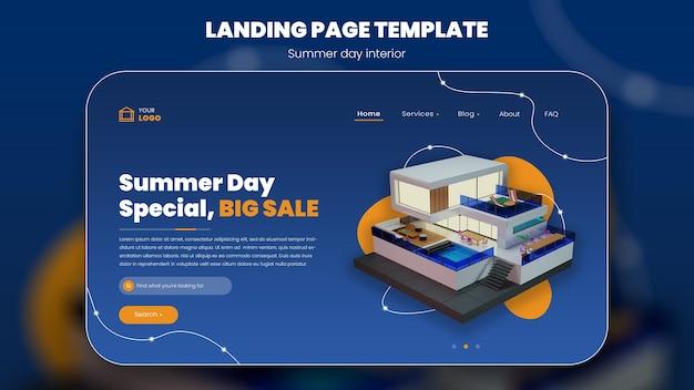Letnie wakacje koncepcja baner lato projekt zewnętrzny niebieskie tło renderowanie 3d