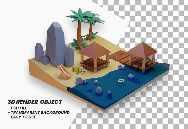 Letnie wakacje koncepcja baner projekt plaży i podróż renderowania 3d