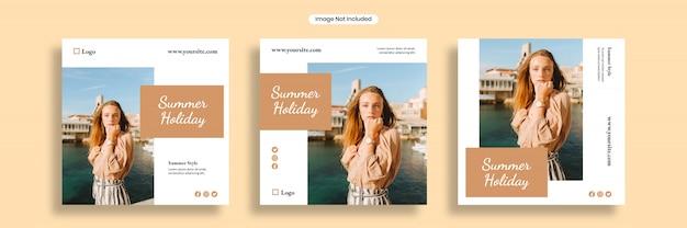 Letnie wakacje szablon banera mediów społecznościowych lub kolekcja kwadratowych ulotek
