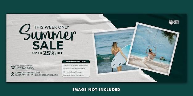 Letnie wakacje szablon banera na facebooka facebook
