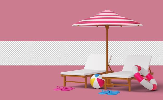 Leżak plażowy i parasol z letnia wyprzedaż aparatu