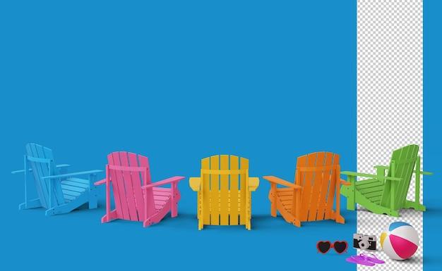 Leżaki i aparat z renderowaniem 3d piłki plażowej