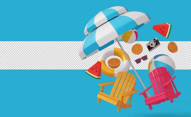 Leżaki i parasole z renderowaniem 3d piłki plażowej