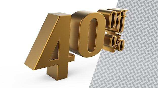 Liczba 40 złotych renderowania 3d